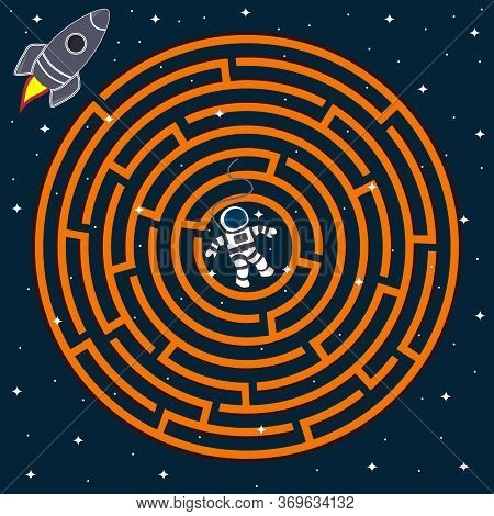 Colorful Circular Maze On The Theme Of Space, The Astronaut Must Find A Way Out Of The Maze To The R
