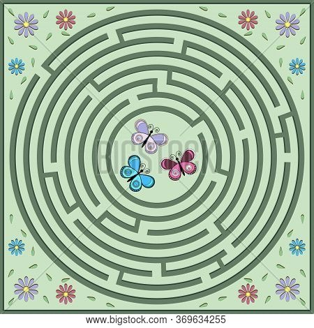 Maze Puzzle On The Theme Of Nature, Where Butterflies Must Find Their Way To Flowers, The Shape Of T