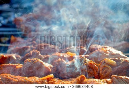 Cooking Barbecue On The Grill With Smoke. Cook Fresh Marinated Meat With Onions. Grill Marinated Bar
