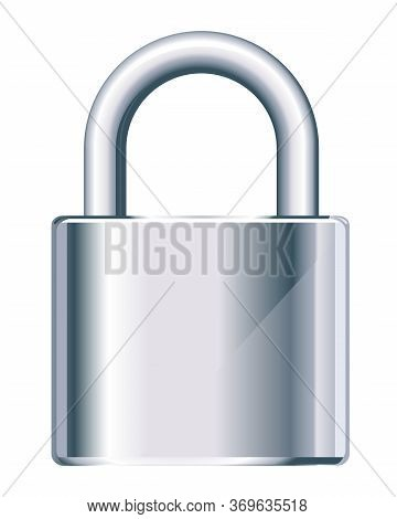 One Locked Metal Padlock In Front View Isolated Illustration, Security Tool, Hinger Equipment For Pr
