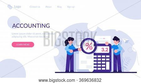 Concept Of Accounting And Auditing Service For Business, Budget Planning, Revenue Calculation. Peopl