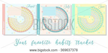 Habit Tracker Is Empty. Bullet Magazine Template. Monthly Planner. Vector Illustration. Organizer Fo