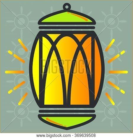 Ramadan Lantern Vector Icon Design. Arabic Ramadan Lantern Icon. Decoration Lamp Icon.