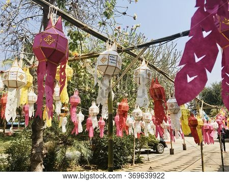 Beautiful Lanna Colorful Lantern, Traditional Northern Thai Style Decorative At House And Temple