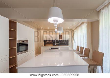 New Modern White Kitchen. New Home. Interior Photography