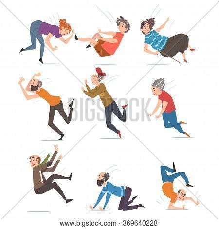 Elderly Man And Woman Falling Down Set, Accident, Pain And Injury Cartoon Style Vector Illustration