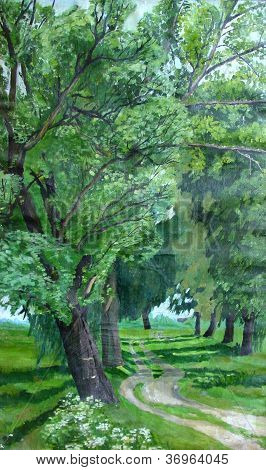 Parkway of Poplars oil painting