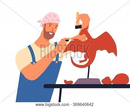 Male Artist Create Sculpture Of Mythology Dragon Vector Flat Illustration. Creative Sculptor In Over