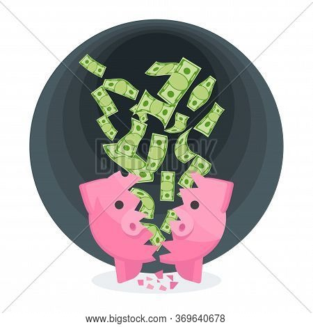 Money From Piggy Bank Is Flying Into Black Hole. Ruin And Bankruptcy, Collapse Of Financial System.