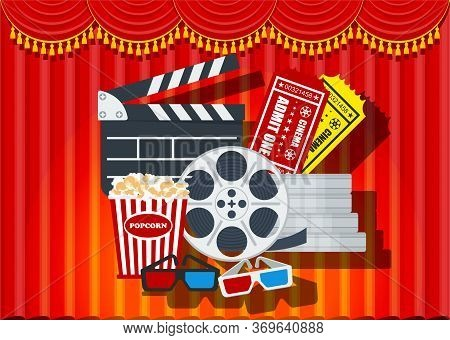 Cinema Poster Template. Red Curtain On Stage Of Theater. Screen, Premiere Of Film. Row Of Soft Red A