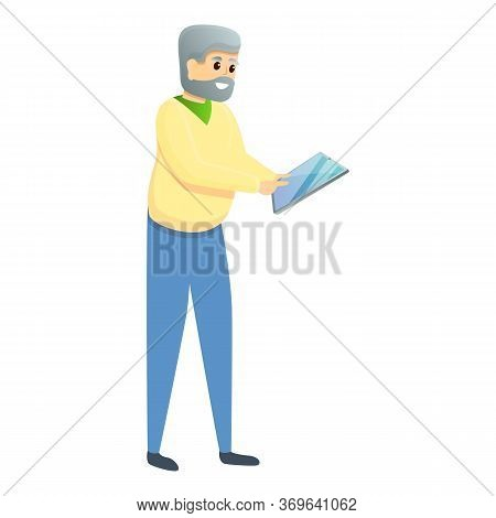 Grandfather With Tablet Icon. Cartoon Of Grandfather With Tablet Vector Icon For Web Design Isolated