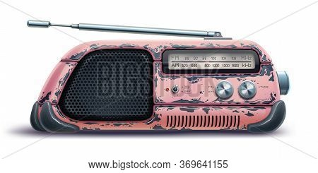 Old Radio Receiver Isolated Over White Background, Retro Tape Recorder. Fun Pink Vintage Antique Dev