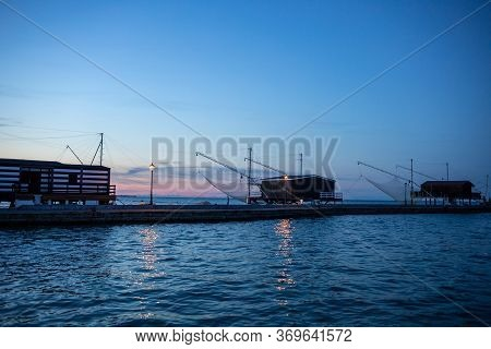 Trabucchi, Particular Fishing Structures Based On Nets Operated From Wooden Huts. Cesenatico, Emilia