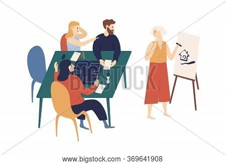 Happy Young Friends Playing Crocodile Game At Home Vector Flat Illustration. Funny Woman Drawing Pic