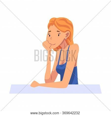 Girl Sitting And Looking At Us, Young Woman Sitting With His Head Propped On Hand Cartoon Vector Ill