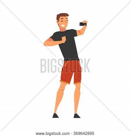 Smiling Man Wearing Black Tshirt And Shorts Taking Selfie Photo, Male Character Photographing Himsel
