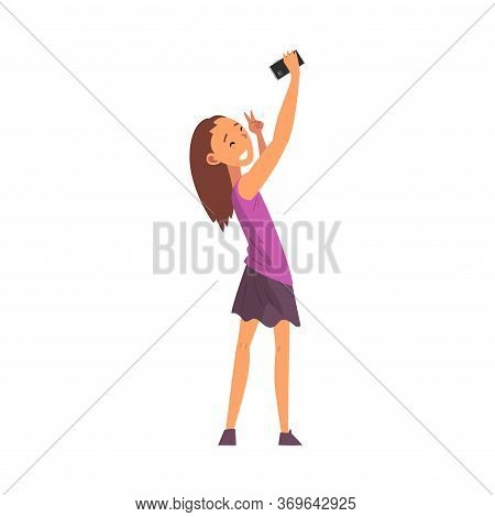 Smiling Girl Taking Selfie Photo, Cute Happy Child Character Photographing Herself With Smartphone C