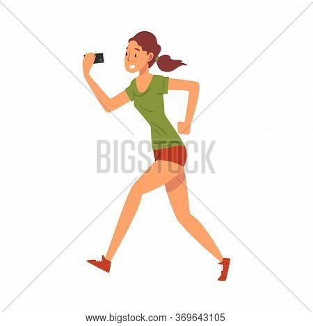 Beautiful Athlete Girl Taking Selfie Photo While Jogging, Young Woman Character Photographing Hersel