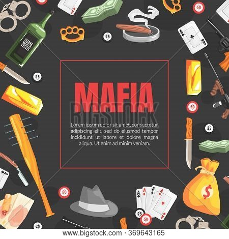 Mafia Banner Template With Space For Text And Gangsters Vintage Objects, Invitation Card, Poster, Ba