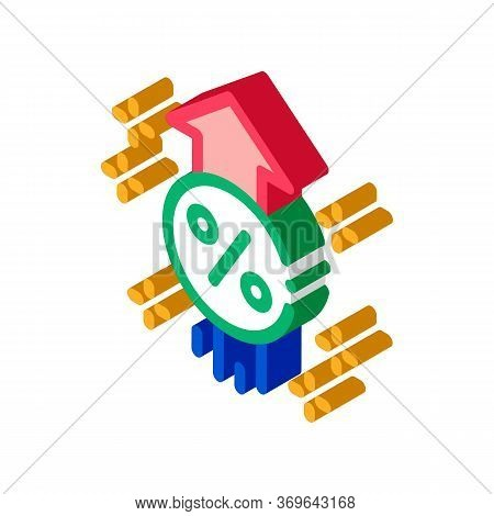 Interest Increase Rise Up Icon Vector. Isometric Interest Increase Rise Up Sign. Color Isolated Symb