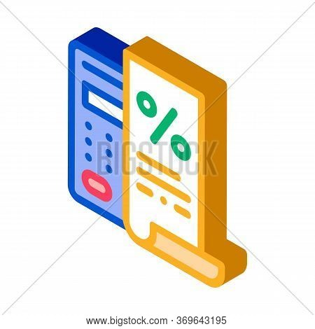 Check With Mathematical Interest Calculations Icon Vector. Isometric Check With Mathematical Interes