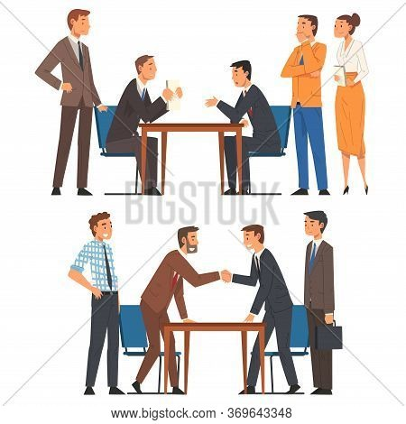 Business Negotiations Set, Busines Partners Sitting At Table And Discussing Work Strategy, Exchangin