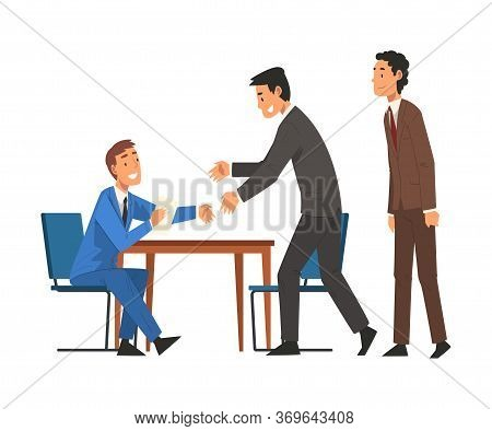 Successful Negotiations, Business Partners Meeting, Businesmen Shaking Hands, Productive Partnership
