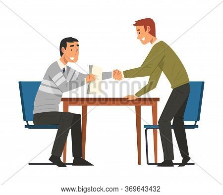 Successful Negotiations, Businesmen Shaking Hands Making Business Deal, Productive Partnership Carto