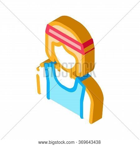 Female Athlete Sportsman Icon Vector. Isometric Female Athlete Sportsman Sign. Color Isolated Symbol