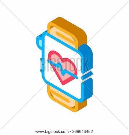 Heart Rate Counter Icon Vector. Isometric Heart Rate Counter Sign. Color Isolated Symbol Illustratio