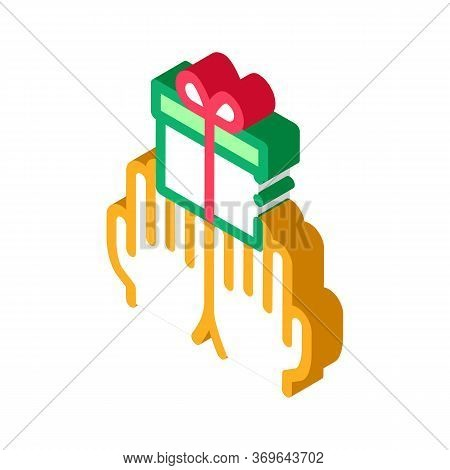 Hands Giving Gift Icon Vector. Isometric Hands Giving Gift Sign. Color Isolated Symbol Illustration