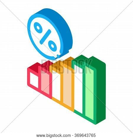 Interest Rising Statistics Icon Vector. Isometric Interest Rising Statistics Sign. Color Isolated Sy
