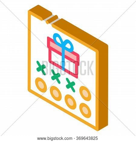 Number Needed To Receive Gift Icon Vector. Isometric Number Needed To Receive Gift Sign. Color Isola