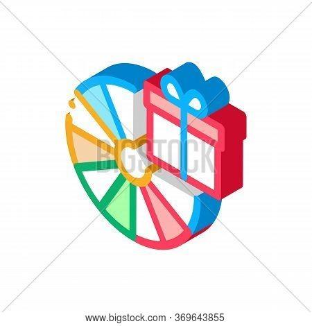 Wheel Of Fortune Gift Icon Vector. Isometric Wheel Of Fortune Gift Sign. Color Isolated Symbol Illus