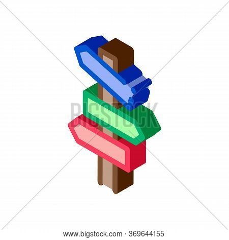 Road Wooden Signposts Icon Vector. Isometric Road Wooden Signposts Sign. Color Isolated Symbol Illus