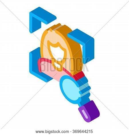 Woman Identity Check Icon Vector. Isometric Woman Identity Check Sign. Color Isolated Symbol Illustr