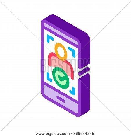 Phone Person Verification Icon Vector. Isometric Phone Person Verification Sign. Color Isolated Symb