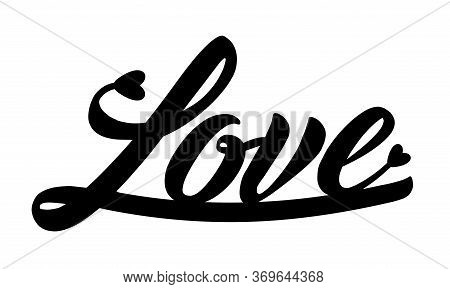Love. Laser Cut Silhouette. Ink Hand Lettering Template. Paper Cutting Calligraphy. Handwritten Phra