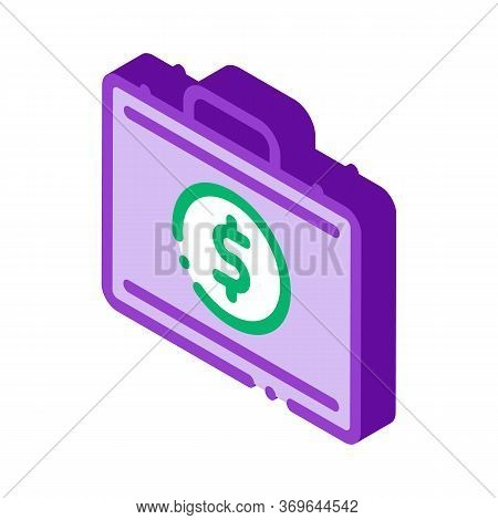 Money Dollars Case Icon Vector. Isometric Money Dollars Case Sign. Color Isolated Symbol Illustratio
