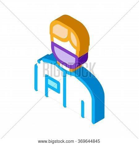 Doctor Surgeon Man Icon Vector. Isometric Doctor Surgeon Man Sign. Color Isolated Symbol Illustratio