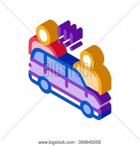 Quarrel Between Car Drivers Icon Vector. Isometric Quarrel Between Car Drivers Sign. Color Isolated