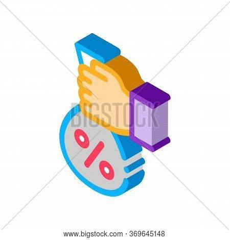 Hand Giving Percent Icon Vector. Isometric Hand Giving Percent Sign. Color Isolated Symbol Illustrat