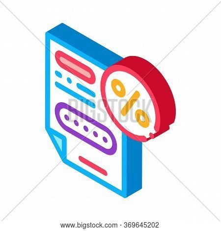 Bonus Percentage Document Icon Vector. Isometric Bonus Percentage Document Sign. Color Isolated Symb