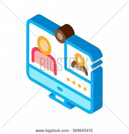 Student Personal Computer Icon Vector. Isometric Student Personal Computer Sign. Color Isolated Symb