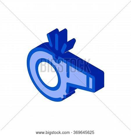 Whistle Arbitrator Tool Icon Vector. Isometric Whistle Arbitrator Tool Sign. Color Isolated Symbol I