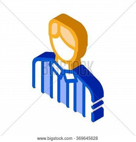 Football Arbitrator Icon Vector. Isometric Football Arbitrator Sign. Color Isolated Symbol Illustrat