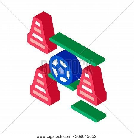 Ball And Training Cones Icon Vector. Isometric Ball And Training Cones Sign. Color Isolated Symbol I