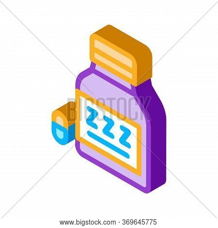Bottle Insomnia Pills Icon Vector. Isometric Bottle Insomnia Pills Sign. Color Isolated Symbol Illus