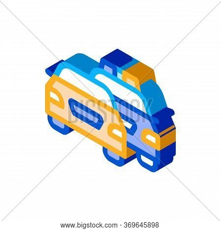Police And Criminal Car Icon Vector. Isometric Police And Criminal Car Sign. Color Isolated Symbol I