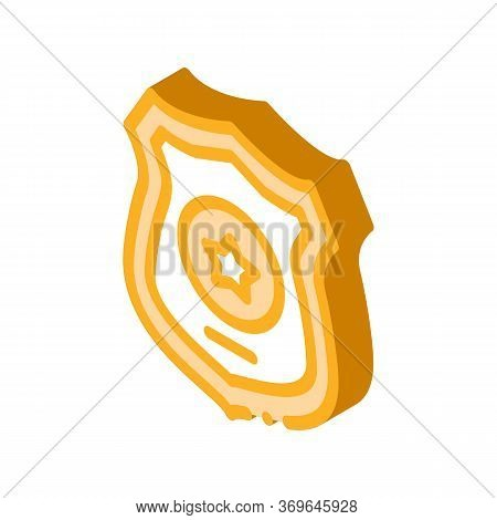 Police Officer Badge Icon Vector. Isometric Police Officer Badge Sign. Color Isolated Symbol Illustr